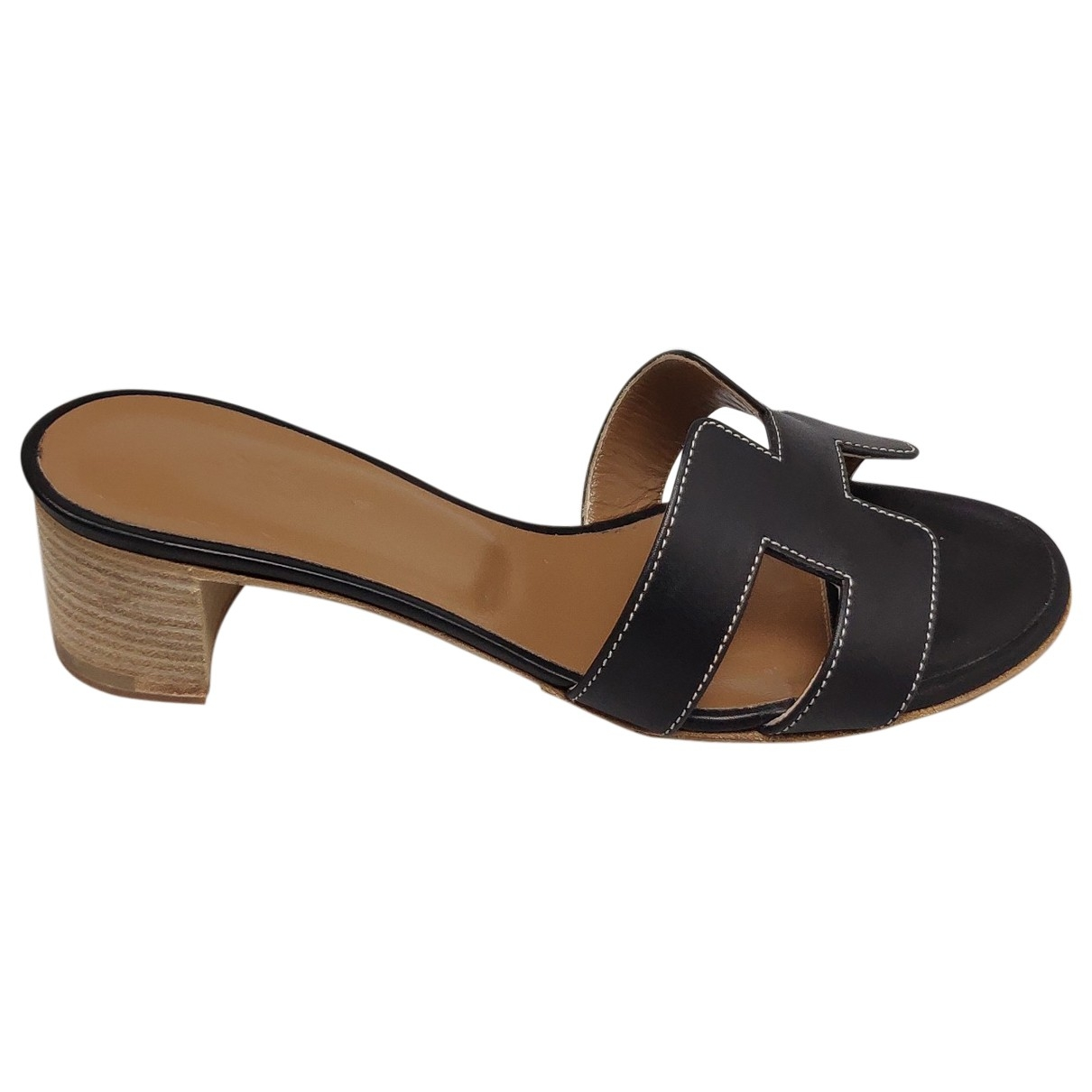 Hermès \N Black Leather Sandals for Women 37.5 EU