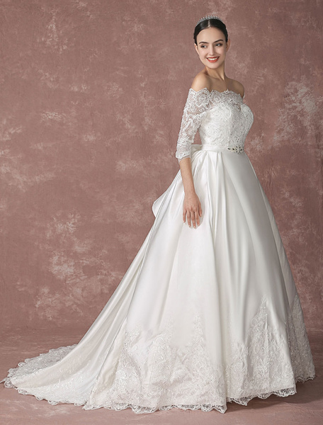 Milanoo Satin Wedding Dress Lace Applique Off-the-shoulder Bridal Gown A-line Chaple Train Half Sleeves Bridal Dress With Satin Bow Sash