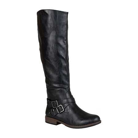 Journee Collection Womens April Wide Calf Riding Boots, 9 1/2 Medium, Black