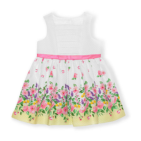 Nannette Baby Baby Girls Sleeveless Floral A-Line Dress, 18 Months , White