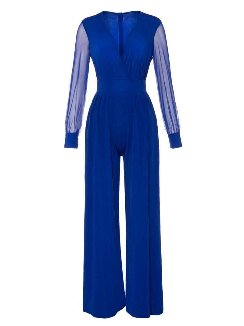 Ericdress Plain Mesh Full Length Wide Legs Slim Jumpsuit