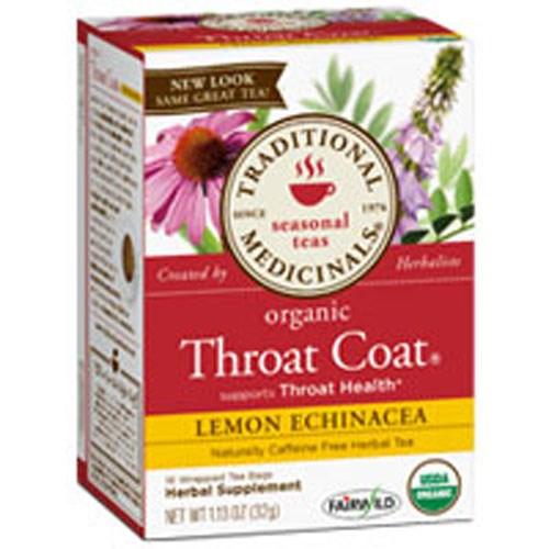 Organic Throat Coat Lemon Echinacea Tea 16 Bags by Traditional Medicinals Teas