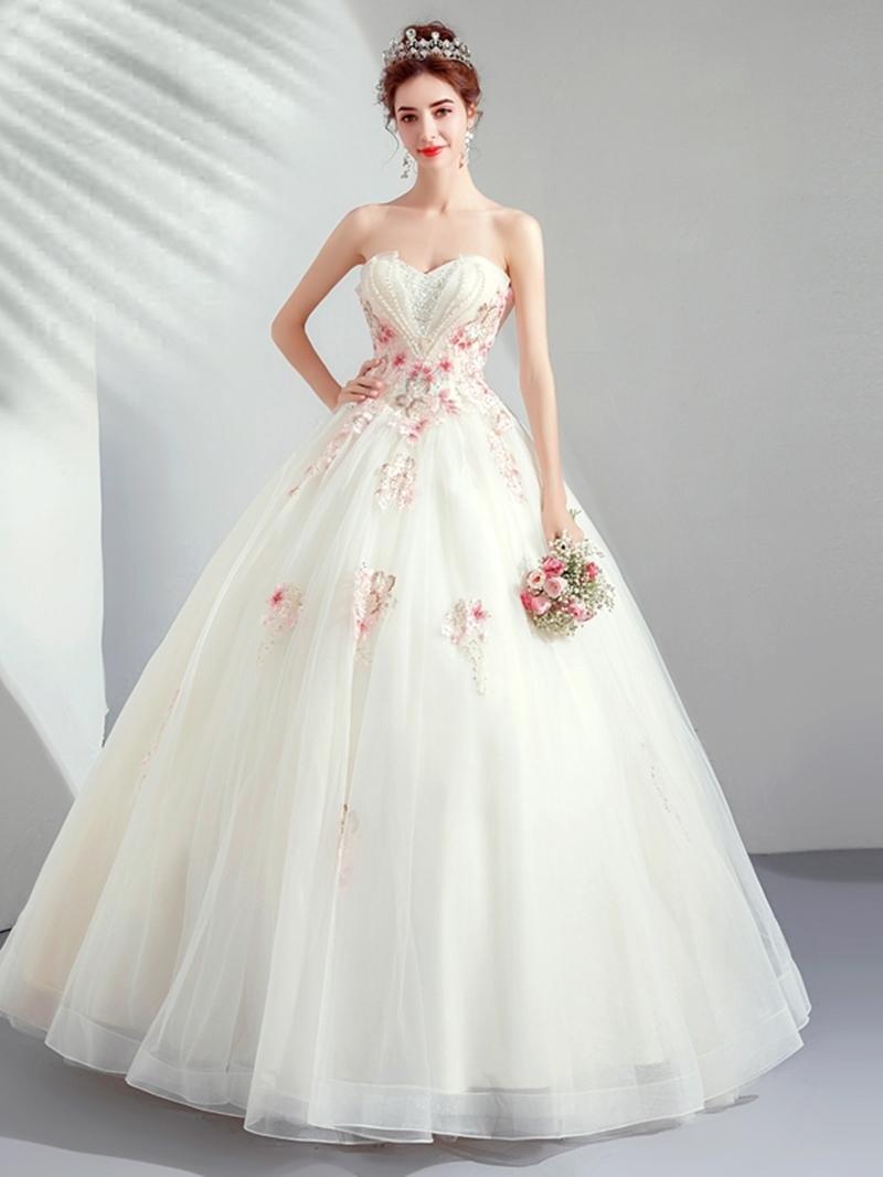 Ericdress Floor-Length Ball Gown Appliques Sleeveless Quinceanera Dress