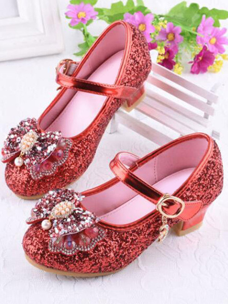 Milanoo Wedding Flower Girl Shoes Silver Round Toe Bow Mary Jane Shoes Glitter Party Shoes For Kids
