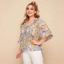 Plus Frill Trim High Low Floral Top