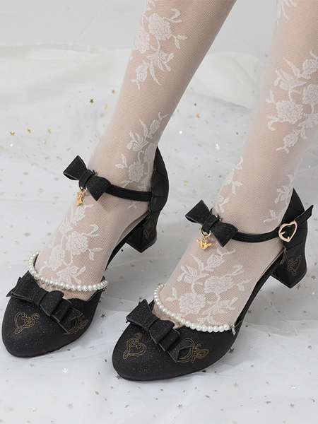Milanoo Classical Lolita Shoes Bows Ankle Strap Puppy Heel Lolita Pump Shoes