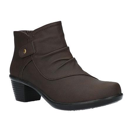 Easy Street Womens Cooper Booties Block Heel, 10 Medium, Brown