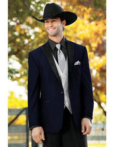 Mens Navy Blue Single Breasted One Button Suit