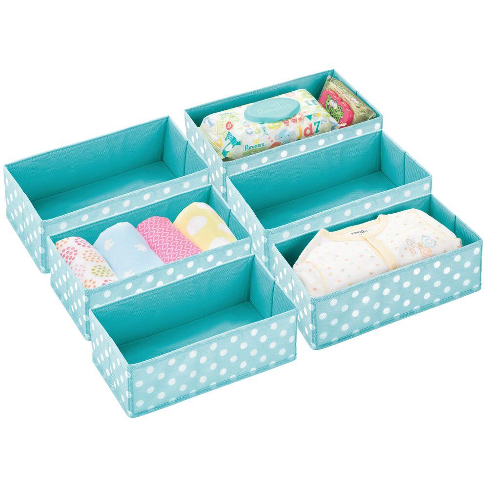 Kids Fabric Closet / Dresser Drawer Storage Organizer in Turquoise/White, 12 x 7.25 x 4.1, by mDesign