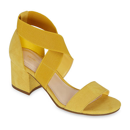 Liz Claiborne Womens Eaves Heeled Sandals, 8 1/2 Medium, Yellow