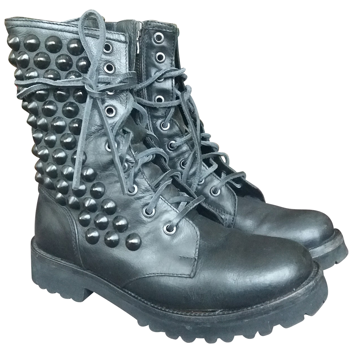 Htc \N Black Leather Boots for Women 37 EU