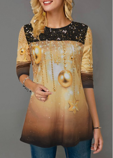Women'S Khaki Sequin Star Print Long Sleeve Holiday T Shirt  Ombre Dip Dye Tunic Casual Top By Rosewe - L