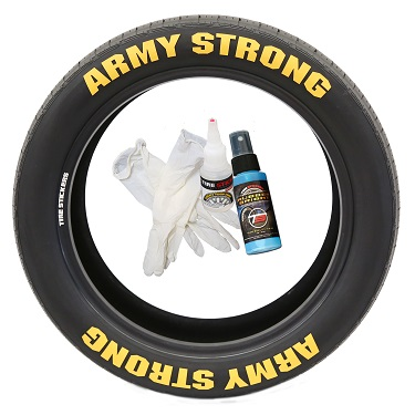 Tire Stickers ARMYSTNG-1718-1-4-W Permanent Raised Rubber Lettering 'Army Strong' Logo - 8 of each -  17