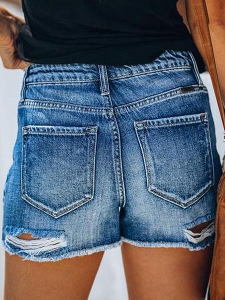 Milanoo Ripped Denim Shorts Woman Distressed Jean Shorts