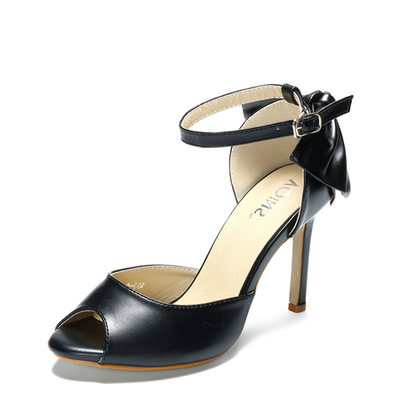 Yoins Black Bow Design Peep-toe High Heels