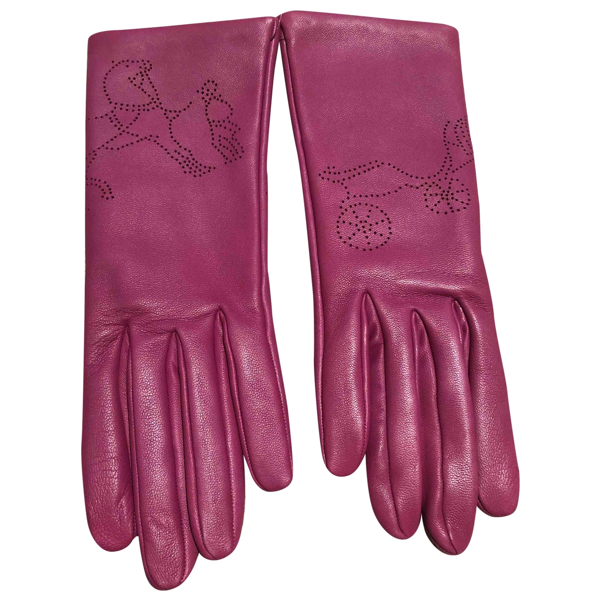 Hermès \N Pink Leather Gloves for Women 7.5 Inches