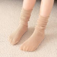 Toddler Girls Simple Solid Socks