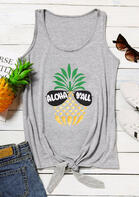 Aloha Y'all Pineapple Goose Tie Tank - Gray