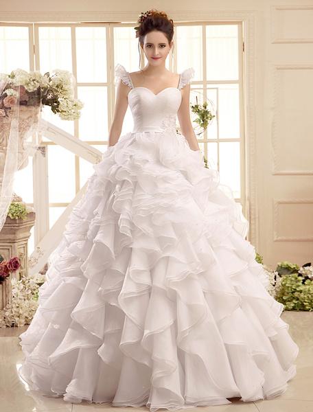 Milanoo Sweetheart Neck Applique Floor-Length Ivory Wedding Dress For Bride