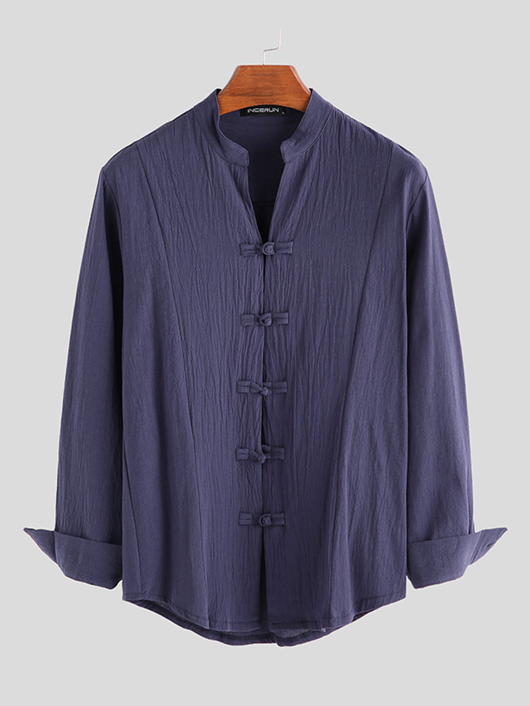 Mens 100% Cotton Chinese Style Brief Long Sleeve Stand Collar Plain Shirts