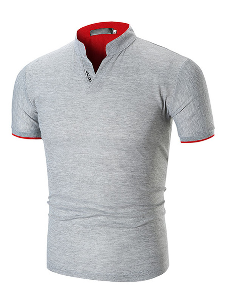 Milanoo Men Polo Shirt Stand Collar Slim Fit Casual Short Sleeve T Shirt