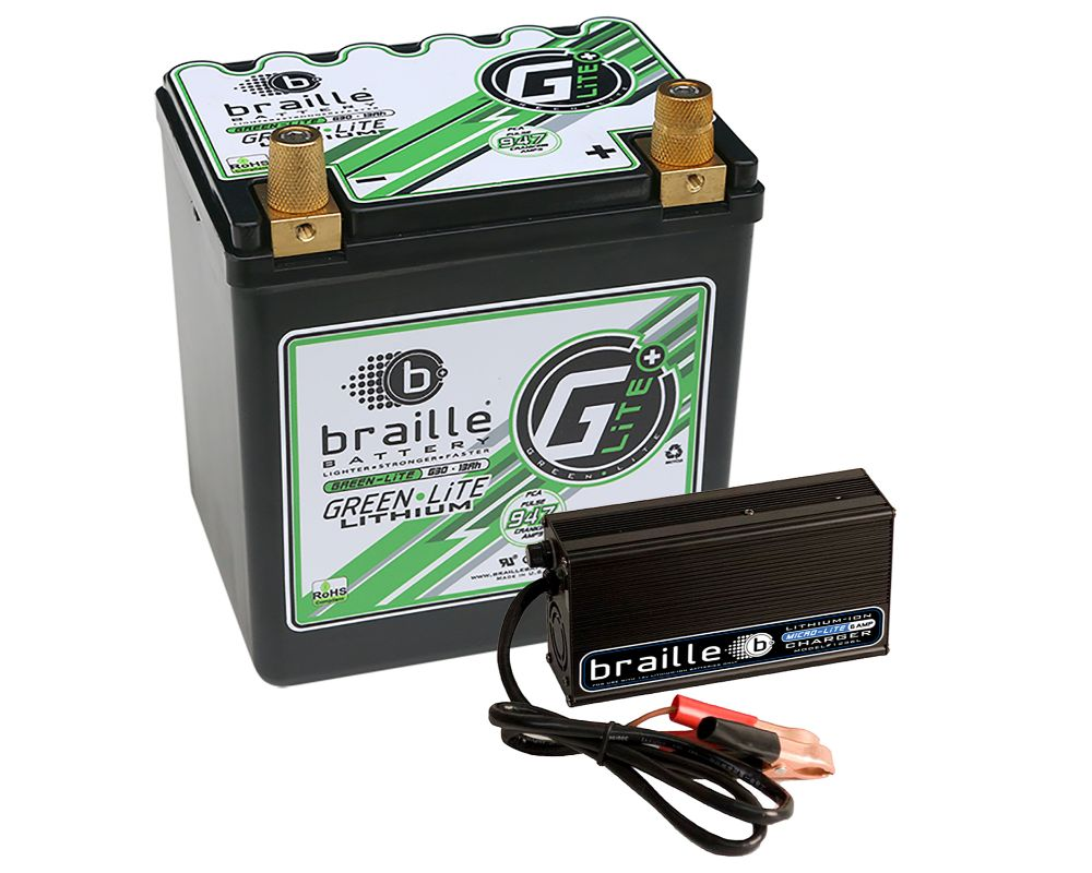 Braille GreenLite (Automotive Spec) Lithium Battery & 6 Amp Lithium Charger Combo