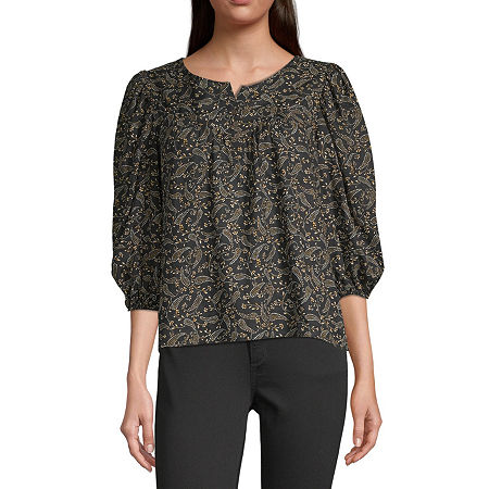 a.n.a-Tall Womens Henley Neck 3/4 Sleeve Peasant Top, Small Tall , Black