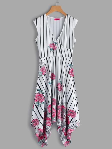 Yoins White Random Floral Print V-neck Sleeveless Midi Dress