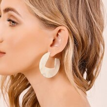 1pair Cut Out Marble Circle Earrings