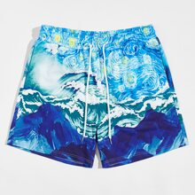 Men Drawstring Waist Patch Pocket Graphic Shorts