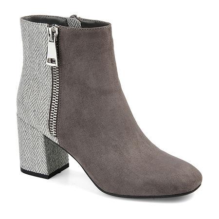Journee Collection Womens Sarah Block Heel Booties, 8 Medium, Gray