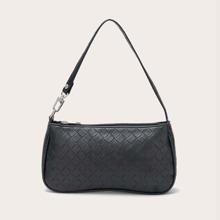 Woven Pattern Baguette Bag