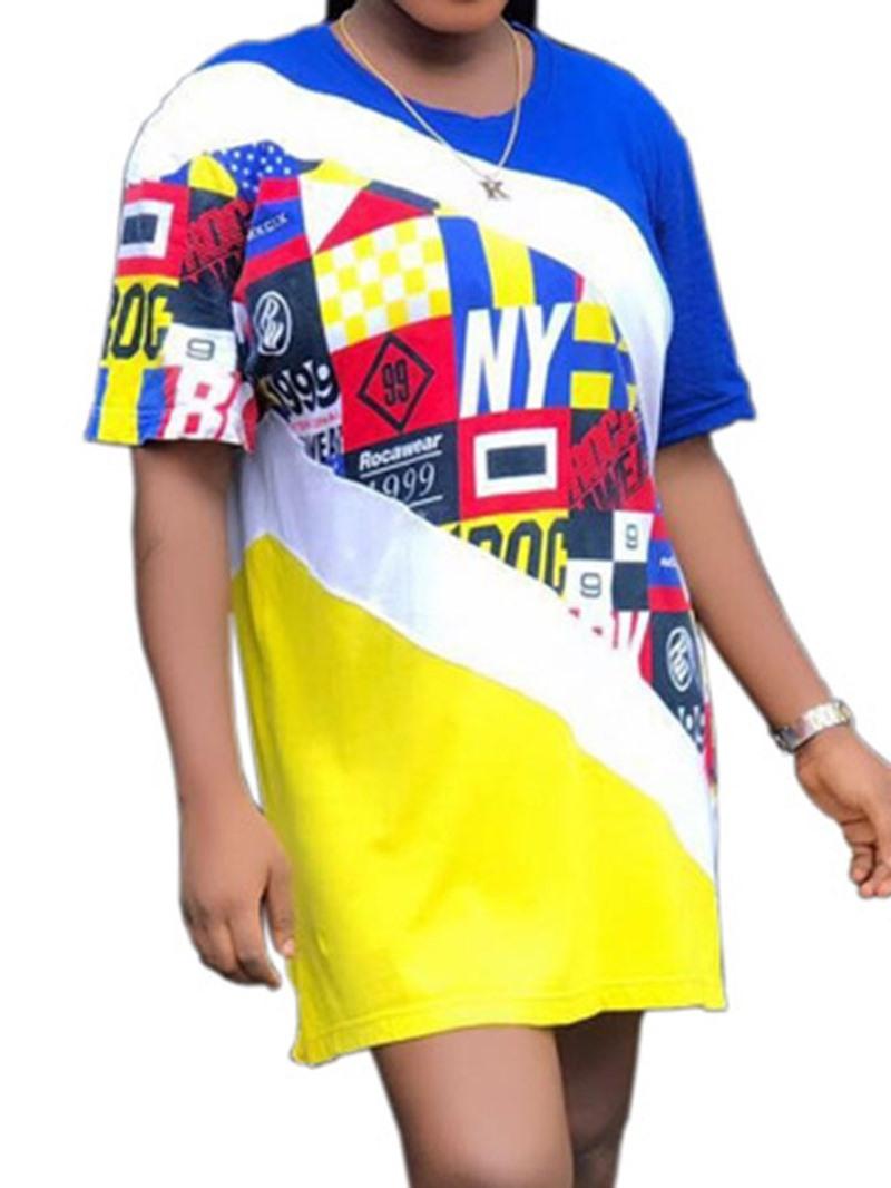 Ericdress Geometric Color Block Summer T-Shirt