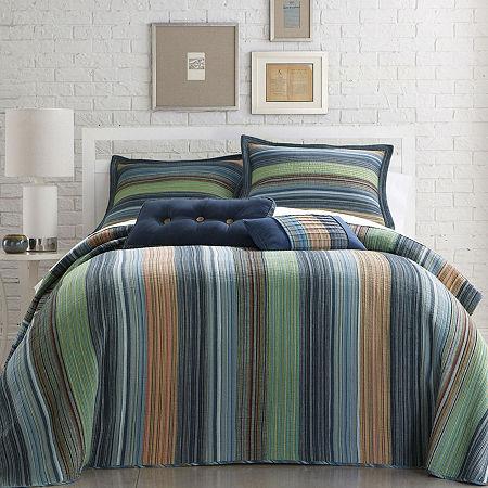 Retro Chic Cotton Striped Bedspread, One Size , Blue