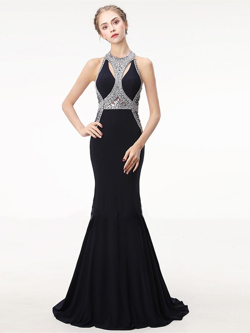 Ericdress Jewel Neck Backless Mermaid Evening Dress With Beadings