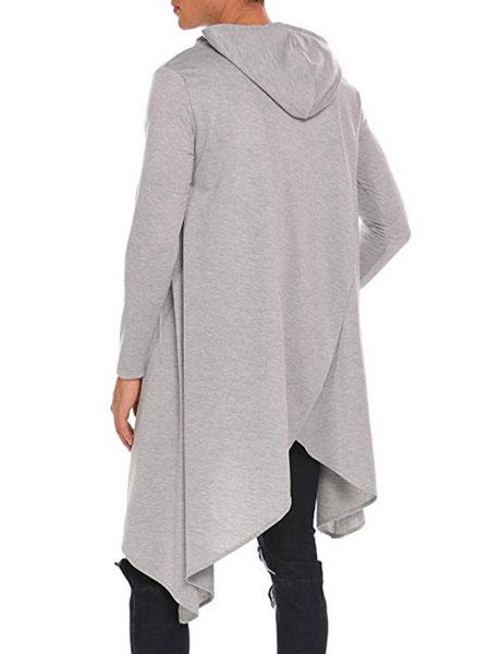Milanoo Hoodie For Men Irregular Design Drawstring Pleated Layered Long Sleeve Pullover Hoodie