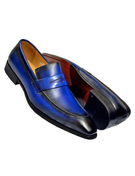 Carrucci Men's Slip On Burnished Genuine Calfskin Leather Blue Shoe