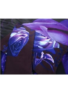 3D Purple Rose Printed Polyester 5-Piece Comforter Sets