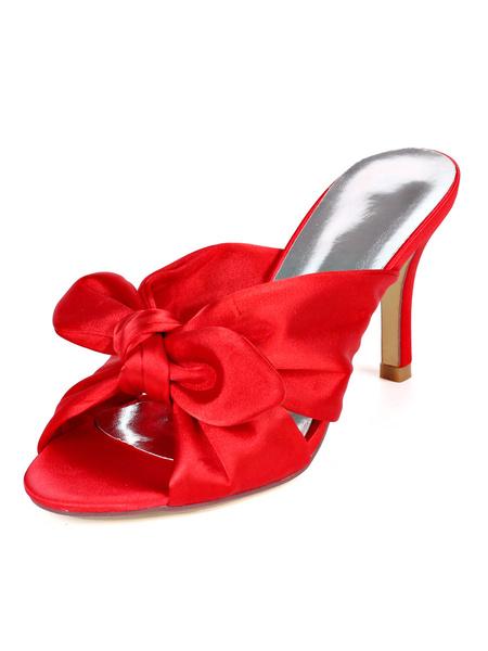 Milanoo Womens Satin Sandlas White Open Toe Slip-On Prom Shoes