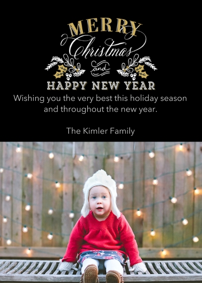 Christmas Photo Cards Flat Matte Photo Paper Cards with Envelopes, 5x7, Card & Stationery -Elegant Holiday