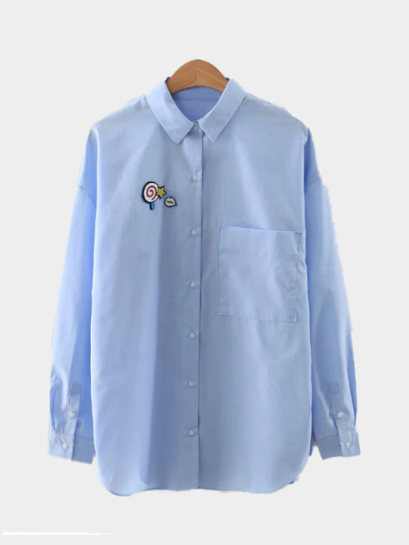 Yoins  Cute One Pocket Long Sleeves Shirt
