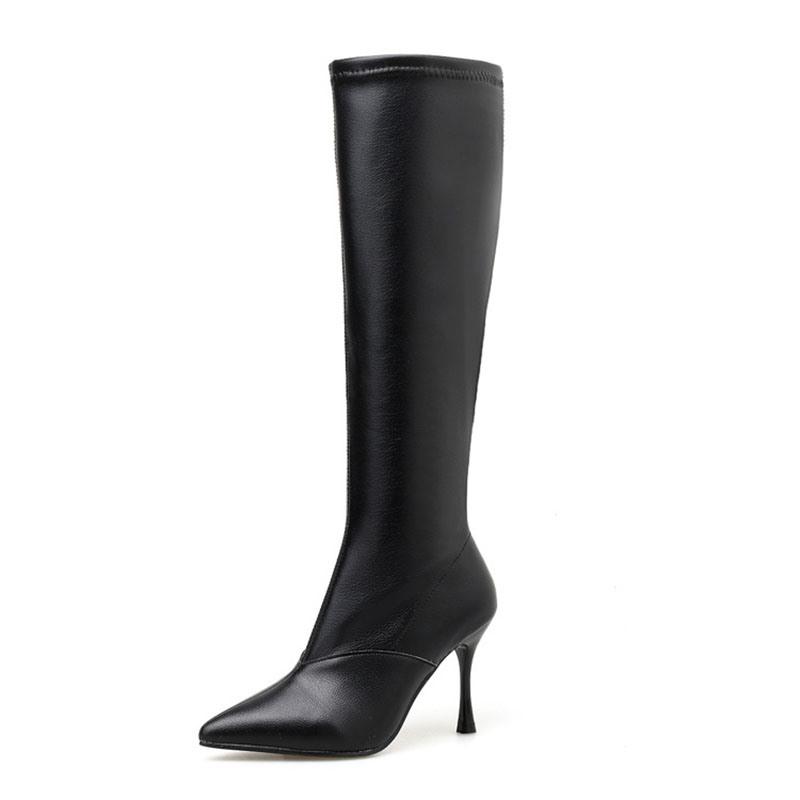Ericdress Pointed Toe Stiletto Heel Side Zipper Knee High Boots