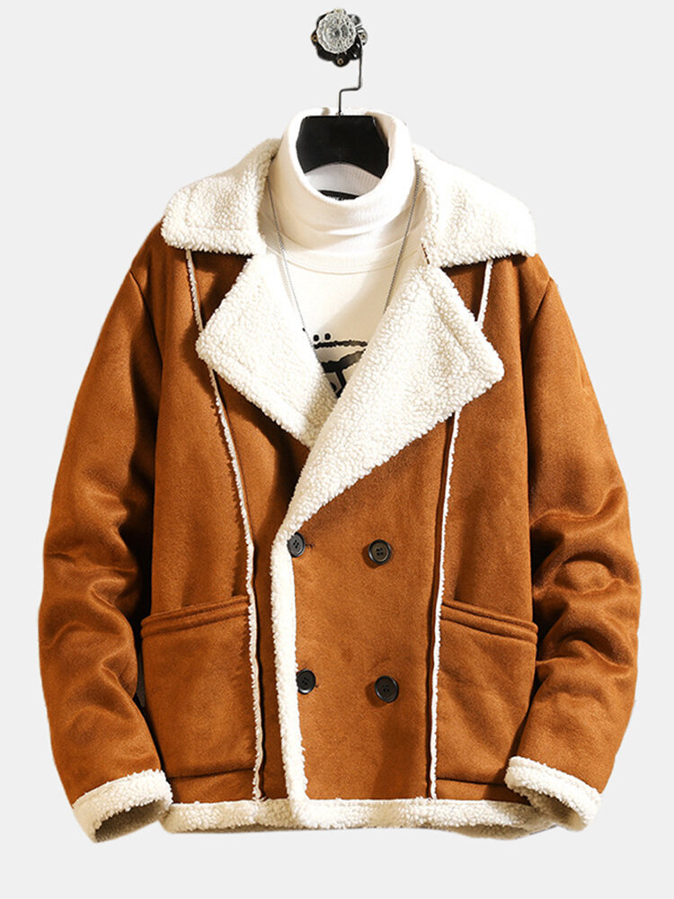 Mens Leathers Suedes Winter Warm Jackets Fleece Lined Shearling Coats Pea Coats