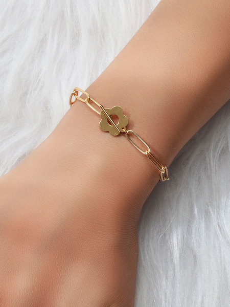 Milanoo Gold Hoop Bracelet Link Chain Bracelets