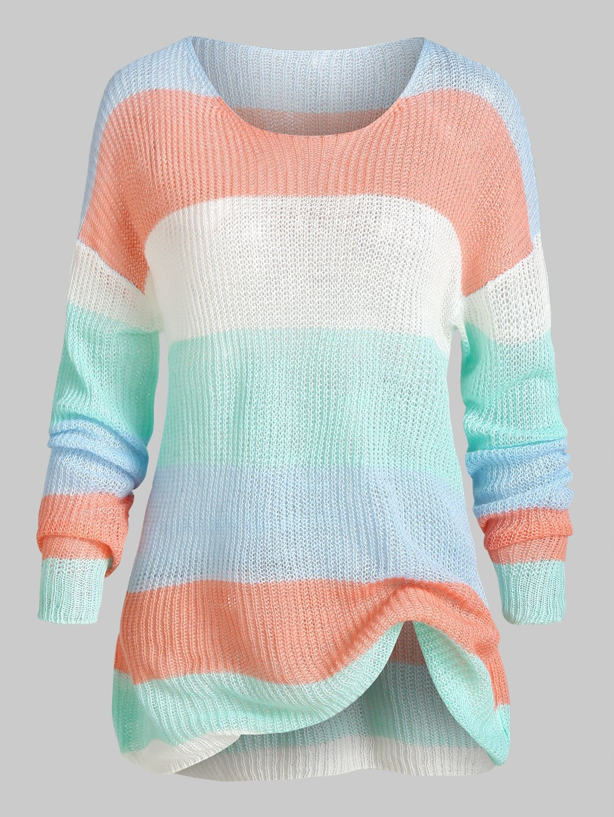 Plus Size Color Blocking Striped Drop Shoulder Tunic Sweater