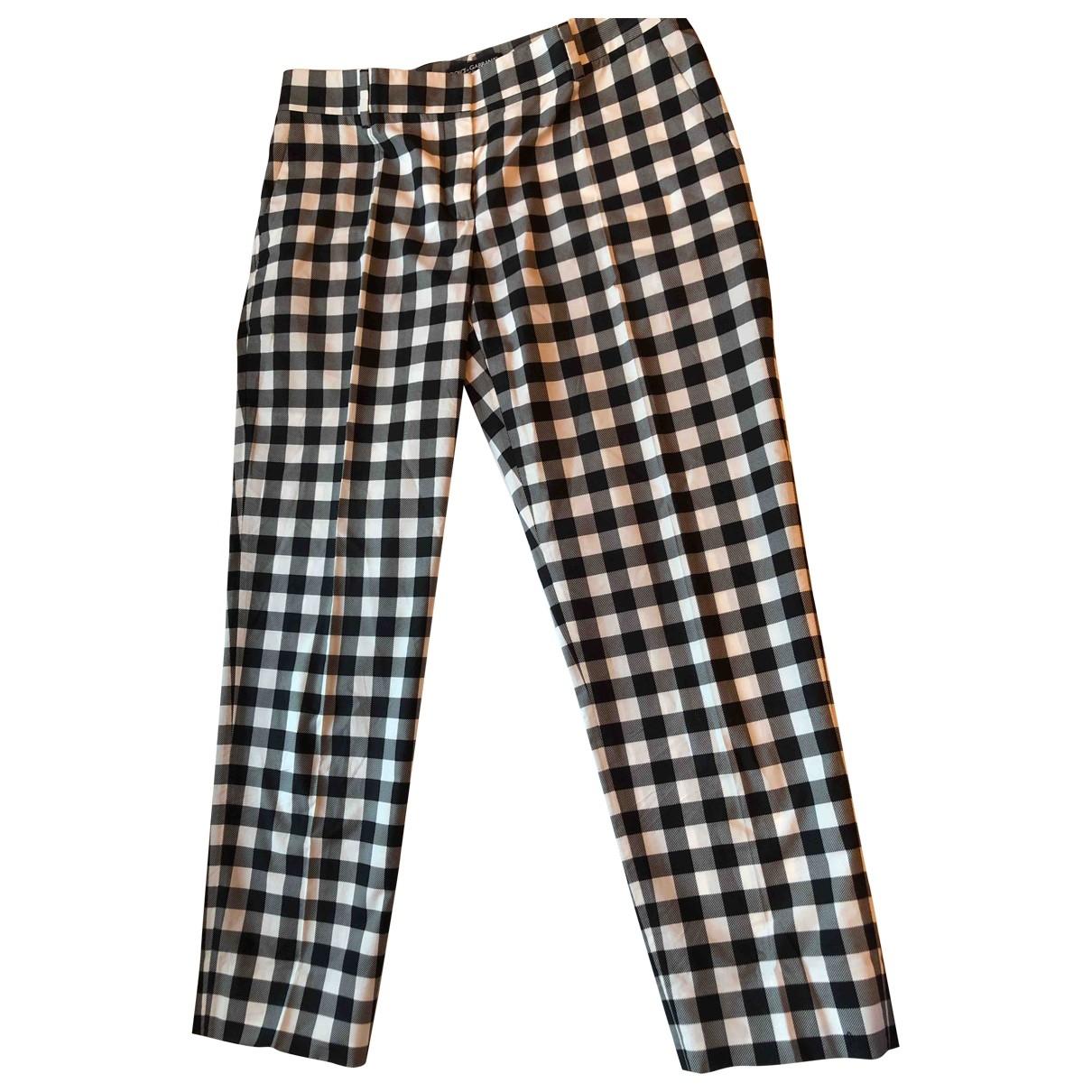 Dolce & Gabbana \N Black Cotton Trousers for Women 44 IT
