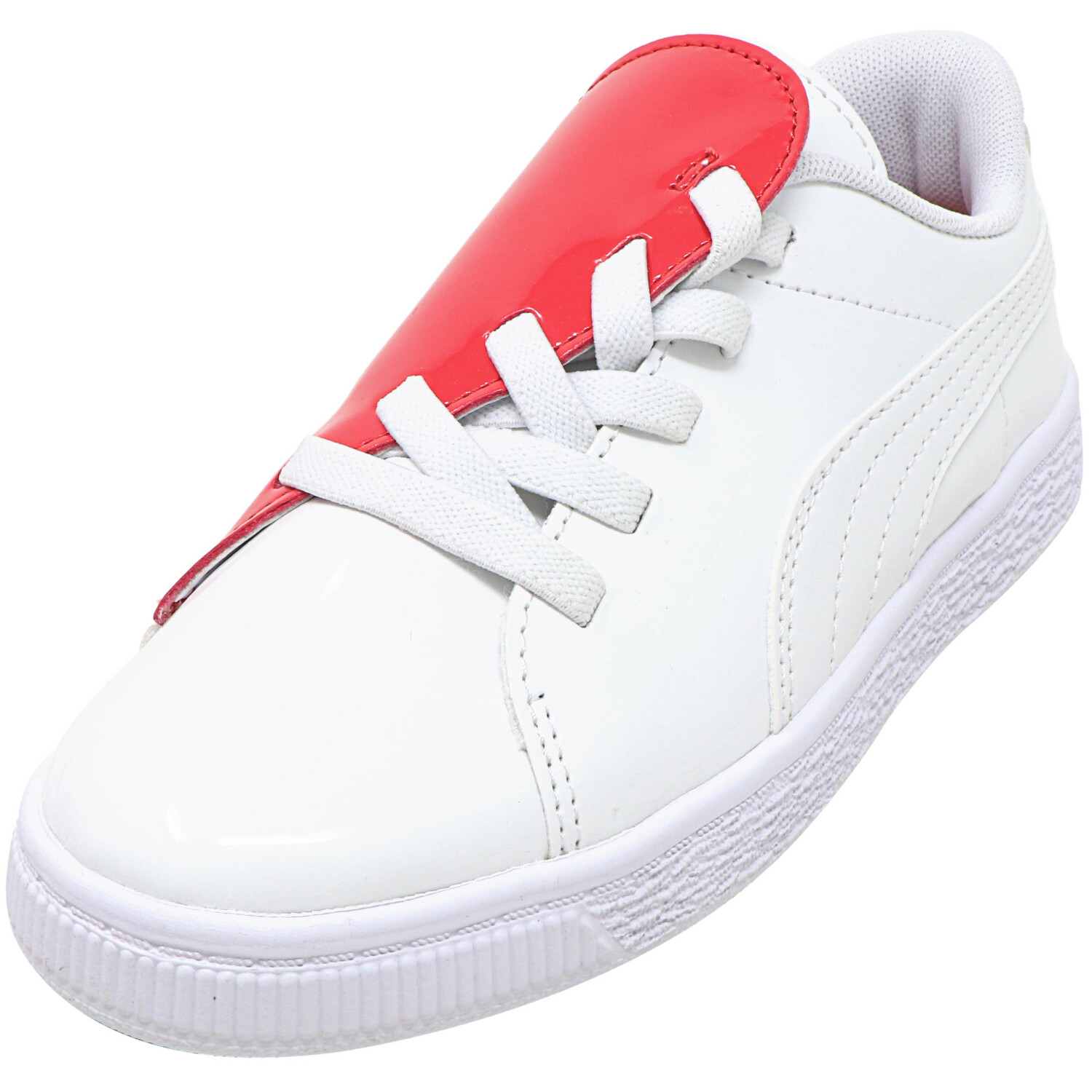 Puma Basket Crush Patent White / Hibiscus Low Top Leather Sneaker - 1M