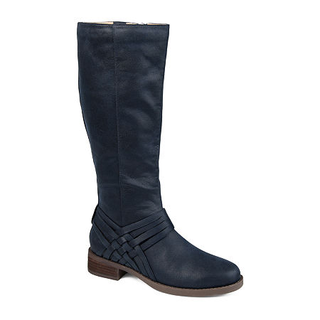 Journee Collection Womens Meg Extra Wide Calf Stacked Heel Over the Knee Boots, 7 1/2 Medium, Blue