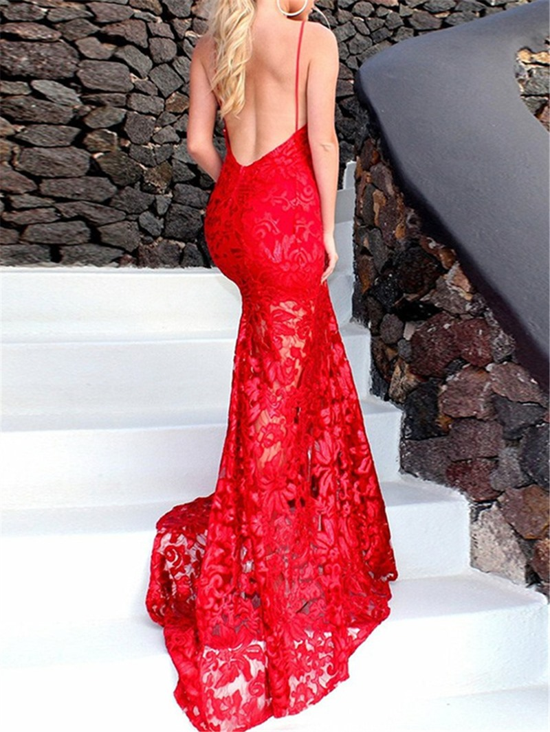 Ericdress Halter Lace Backless Mermaid Evening Dress