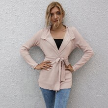 Solid Rib-knit Belted Coat